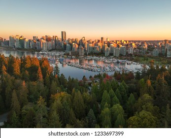 Aerial view of the Vancouver Downtown Skyline at dusk from Stanley Park, Canada.