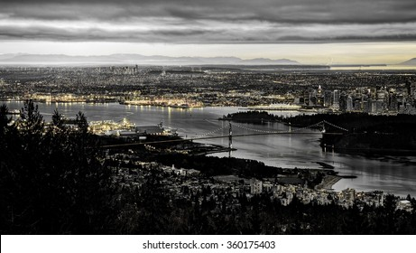 Aerial View of Vancouver at Night