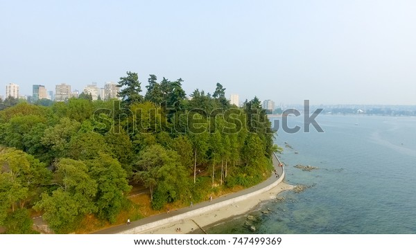 Aerial view of Vancouver skyline from Stanley Park, Canada.