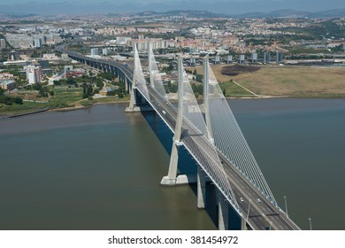 Aerial view of the Vasco de Gama bridge in Lisbon, Portugal