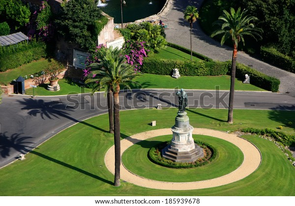 Aerial view of Vatican Gardens from St Peter Basilica, Rome, Italy