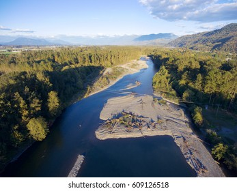 Aerial view of the Vedder River in Chilliwack British Columbia Canada