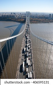 Aerial view of vehicle traffic crossing the George Washington Bridge, New York City