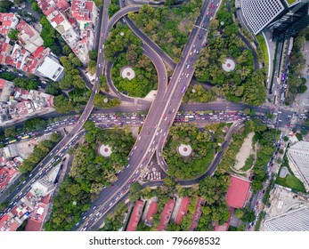 aerial view of the vehicular intersection in Polanco fifth section in Mexico City