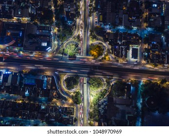 aerial view of the vehicular intersection in Tlalpan avenue in Mexico City at night