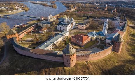Aerial view of Velikiy Novgorod Kremlin in Russia