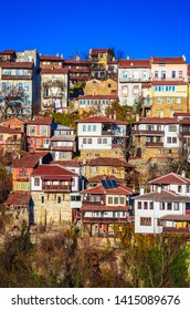 Aerial view of  Veliko Tarnovo in a beautiful autumn day, Bulgaria