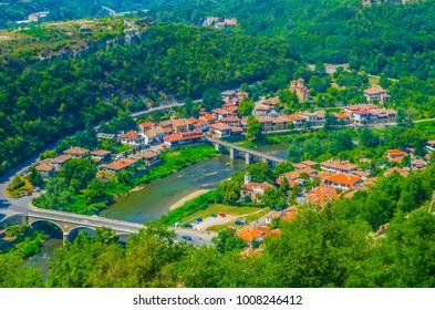 Aerial view of Veliko Tarnovo in Bulgaria