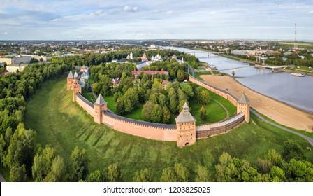 Aerial view of Veliky Novgord kremlin, Russia