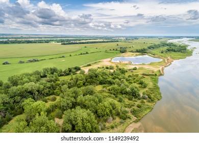 aerial view of a velley of the Platte River near Kearney, Nebraska in summer scenery
