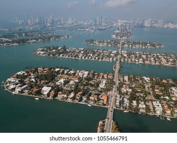 Aerial view of Venetian Islands, Miami Beach, Florida, USA