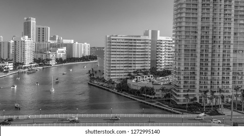 Aerial view of Venetian Way and Miami Beach from Gibb Park, Florida