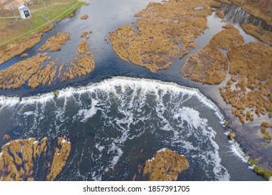 Aerial view of Venta Rapid (Ventas Rumba) waterfall. Widest waterfall in Europe located in Kuldiga
