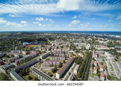 Aerial view of Ventspils city and port, Latvia.