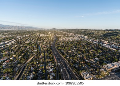 Aerial view of Ventura 101 Freeway near Van Nuys Blvd in the San Fernando Valley area of Los Angeles, California.