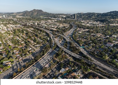 Aerial view of Ventura 101 Freeway and Hollywood 170 freeways in the San Fernando Valley area of Los Angeles, California.