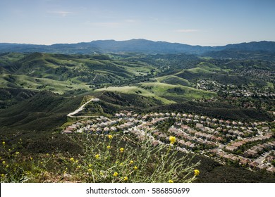 Aerial View of Ventura County, Thousand Oaks, Simi Valley, and Oak Park in Spring