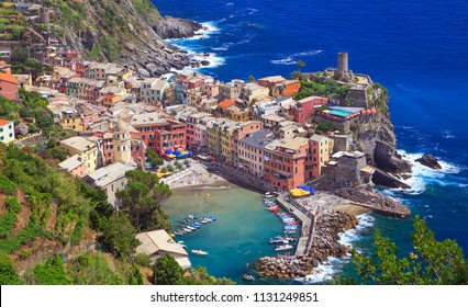Aerial view of Vernazza village on Mediterranean Sea coast, Cinque Terre, Italy