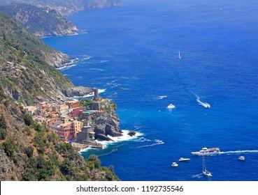 Aerial view of Vernazza village on Mediterranean coast, Cinque Terre, Italy