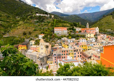 Aerial view of Vernazza (Vulnetia), a small town in province of La Spezia, Liguria, Italy. It's one of the lands of Cinque Terre, UNESCO World Heritage Sit