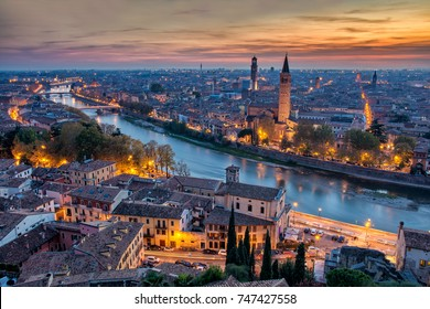 Aerial view of Verona from Castel San Pietro during autumnal sunset