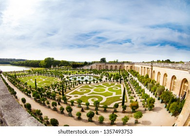 Aerial view of Versailles gardens at sunny day