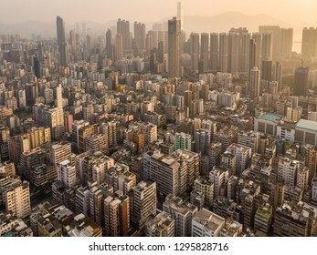 Aerial view of the very densely populated Sham Shui Po district in Kowloon in Hong Kong SAR in China