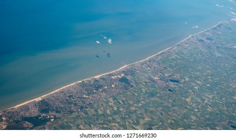Aerial view of of Veurno Nieuport Koksijde Ostend cities on the Belgian coast