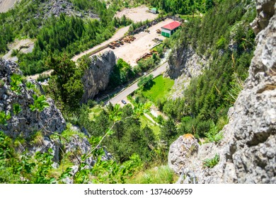 """Aerial view from via ferrata """"Astragalus"""", a popular tourist attraction in Bicaz Gorge (Cheile Bicazului), Neamt county, Romania. Vibrant nature colors as seen from a mountain peak."""