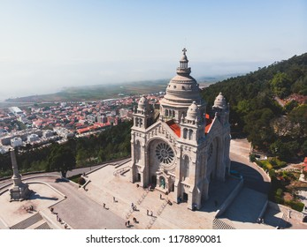 Aerial view of Viana do Castelo, Portugal, with Basilica Santa Luzia Church, shot from drone