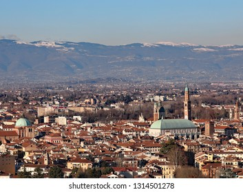 aerial view of Vicenza City in Italy and the most famous monument called BASILICA PALLADIANA