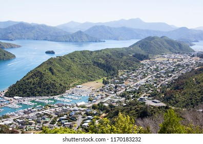 The aerial view Victoria Domain landscape, the oldest park in Picton resort town (New Zealand).