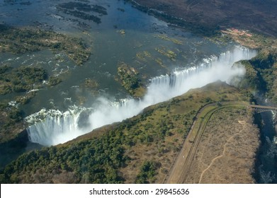 Aerial view of the Victoria Falls on the border of Zambia and Zimbabwe
