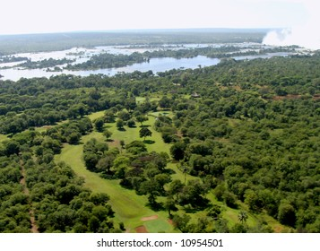 Aerial view of victoria falls and surroundings in zimbabwe