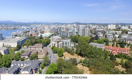 Aerial view of Victoria skyline, Vancouver Island.