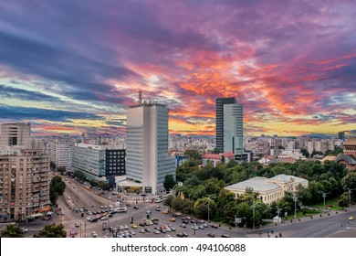 Aerial View of Victoria Square at sunset after a summer storm. Vivid sky in Bucharest, Romania.