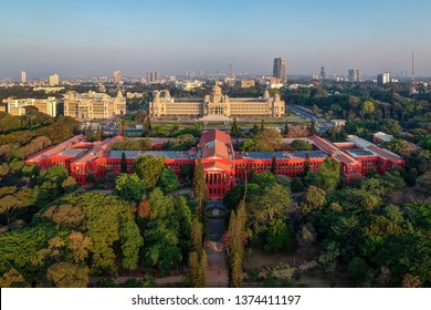 An aerial view of Vidhan Soudha and High Court building, Bangalore, India. Photographed 18-Mar-2019