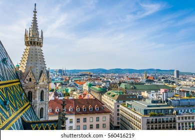 Aerial view of Vienna and Stephansplatz from top of the stephansdom cathedral.