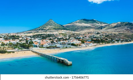 "Aerial view of ""Vila Baleira""with ""Pico Castelo"" as background, Porto Santo, Madeira, Portugal"