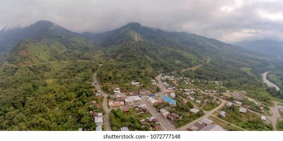 Aerial view of village Alshi 9 de Octubre, Ecuador. On the Amazonian slopes of the Andes in Morona Santiago province.