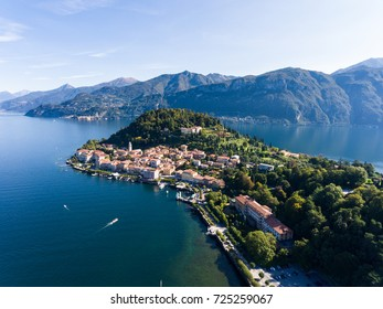 Aerial view, village of Bellagio, famous destination on Como lake in Italy