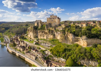 an aerial view, from the village of beynac-et-cazenac, dordogne, France.
