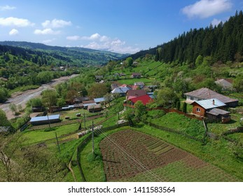 aerial view of village in the countryside. Petru Voda, Romania