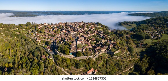 Aerial View from the village of Domme in the Dordogne, Aquitaine, France
