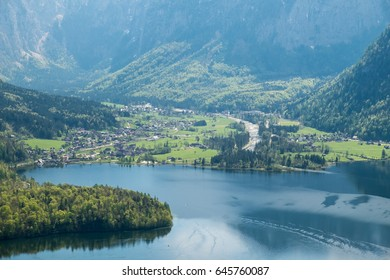 Aerial View village in hallstatt, Austria foreground is lake and background mountain Alps on summer
