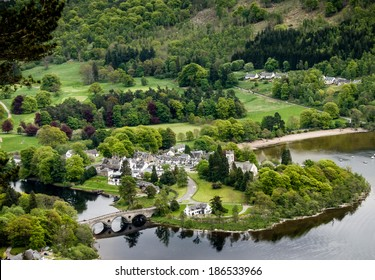Aerial view of the village of Kenmore, Loch Tay, Scotland.