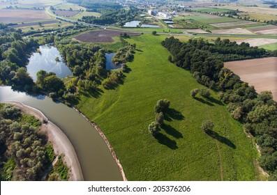 aerial view of village landscape