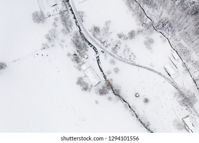 aerial view of the village landscape in winter