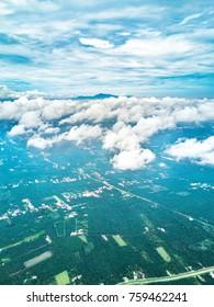 Aerial view of village plantation.