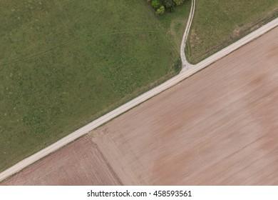 Aerial view of village roads.
